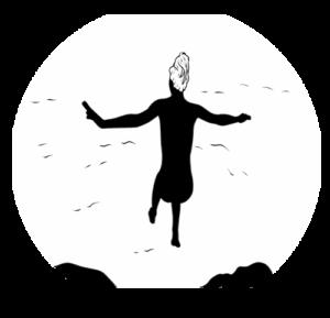 Grafik Nackte Frau springt ins Wasser