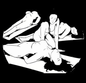Bleistiftzeichnung Frauen im TantraYoga Nacktes Yoga