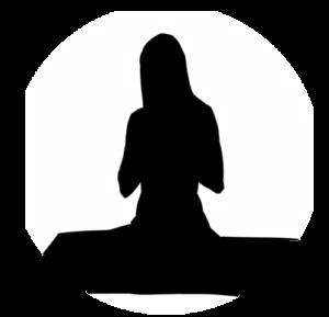 Bleistiftzeichnung meditierende nackte Frau
