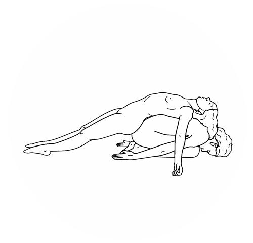 Bleistiftzeichnung nacktes Yogapaar