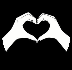 Bleistiftzeichnung Herz mit Händen