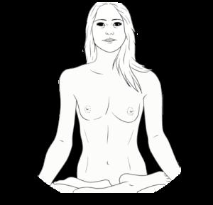 Bleistiftzeichnung Meditierende Frau
